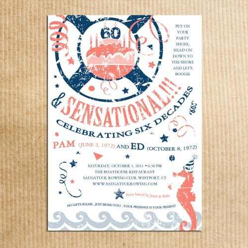 Nautical Birthday Invitations Beach Theme Adult Party Vintage – Beach Themed Party Invitations