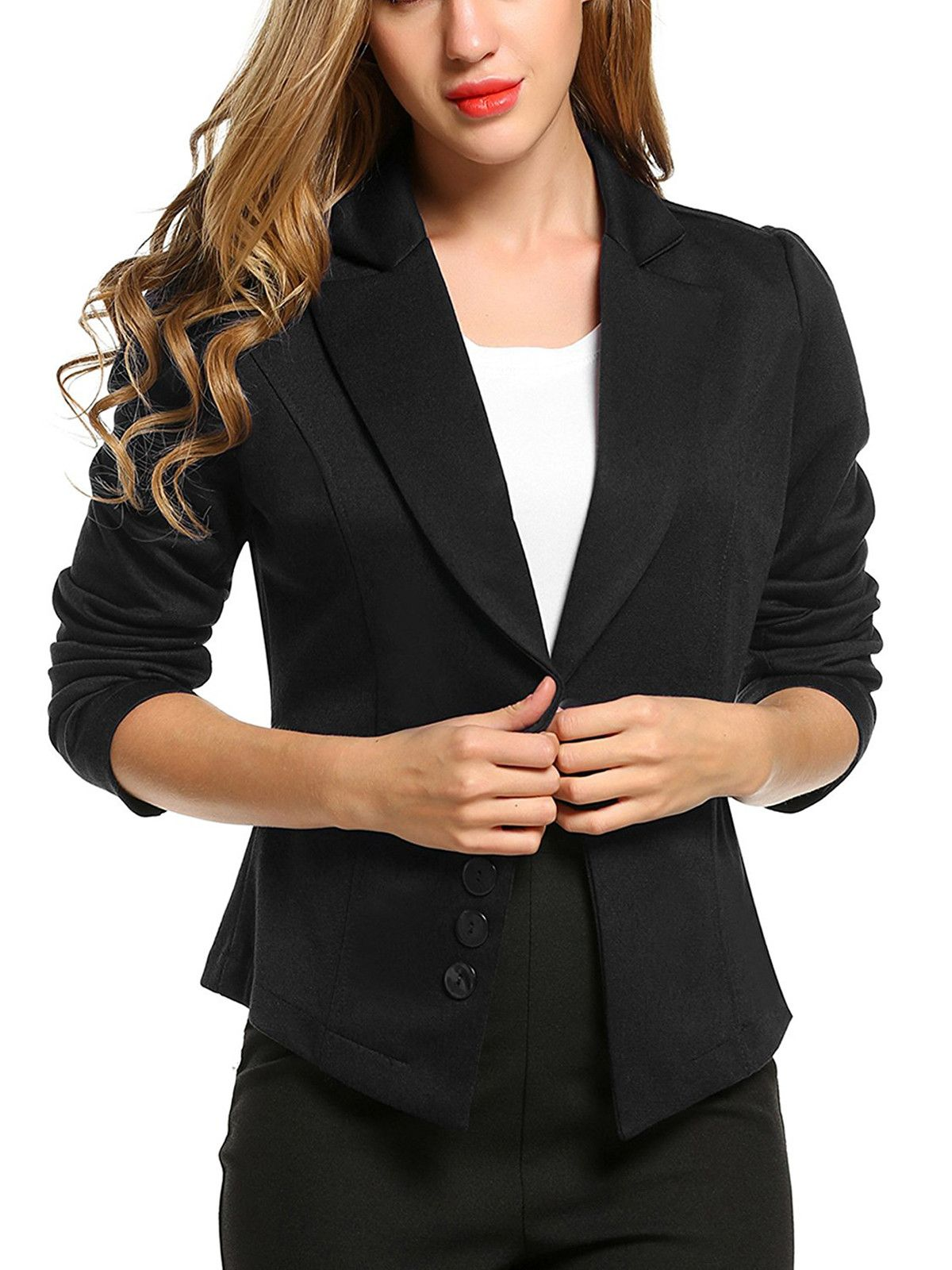d2ec023d759 Women's Long Sleeve Solid Casual Work Office Slim One Button Blazer-Black.  Find this Pin and more on Jackets ...