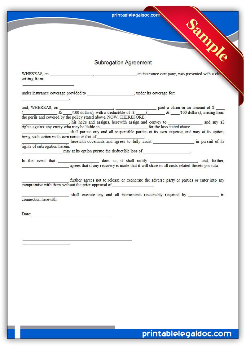 Free Printable Subrogation Agreement Form Generic Legal Forms