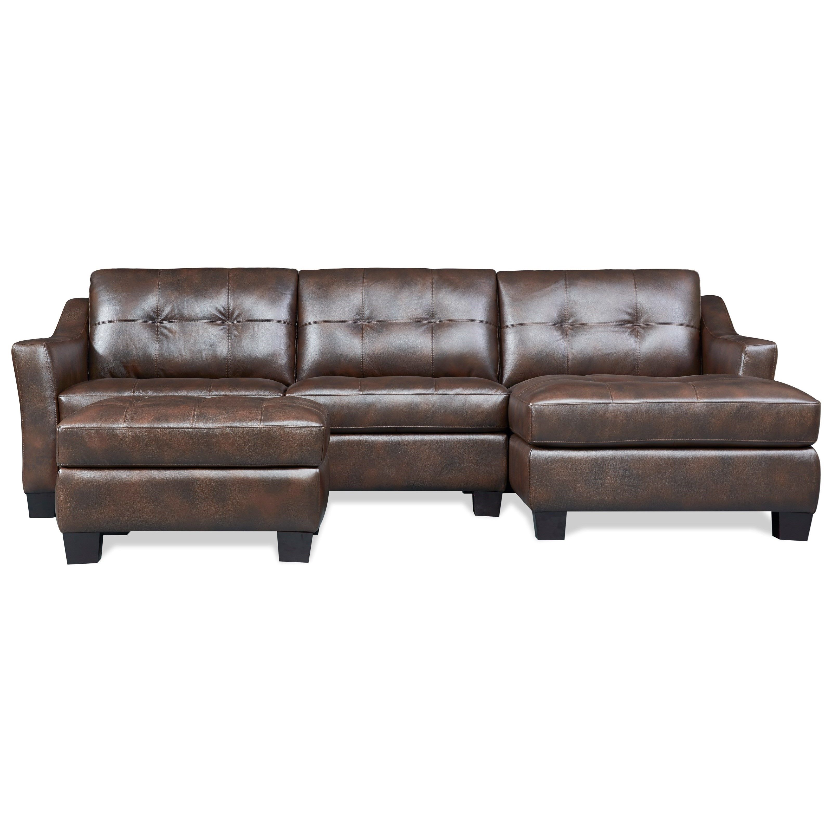 Nelson Contemporary 2 Piece Leather Sectional With Chaise By