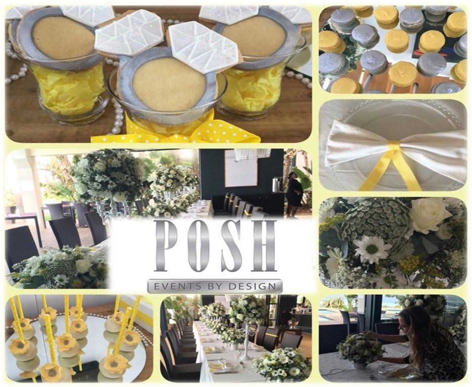 Posh Yellow and White Bridal Shower complete with Ring Cookies, cake pops and macarons