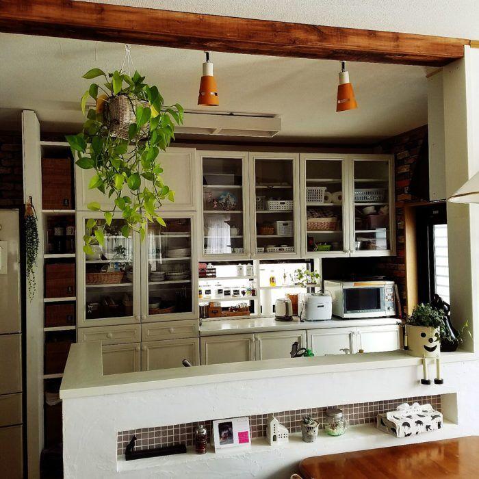 キッチンdiy 吊戸棚撤去したところになんちゃって化粧梁をdiy まめメモ キッチン Diy キッチン 戸棚