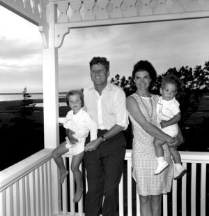 Young Kennedy Family On The Porch Jackie Bouvier Onis Jpg