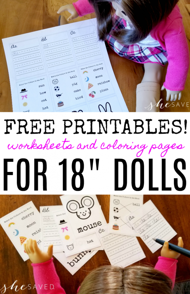 FREE Printable Doll Sized School Worksheets #americangirldollcrafts