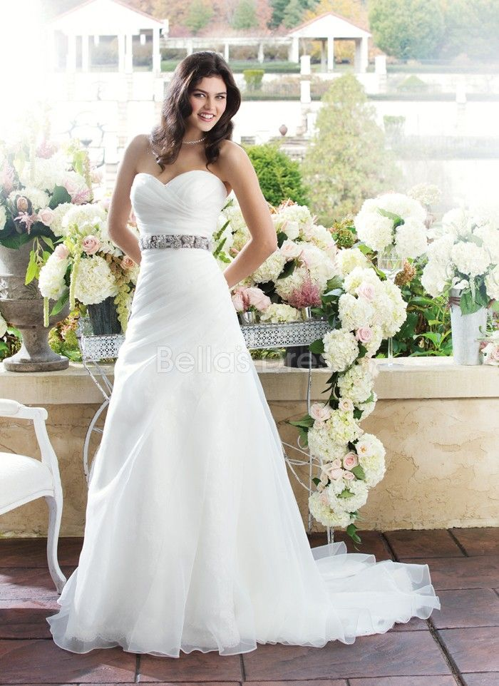 Natural Waist Organza With Ruching Sweetheart A Line Wedding Dress