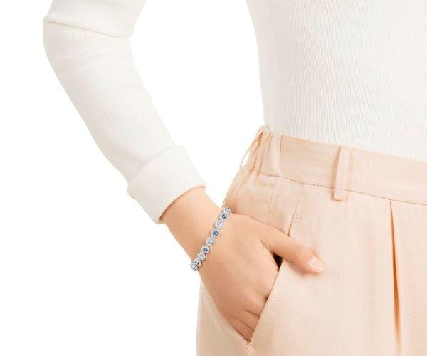 Swarovski Love Angelic Square Bracelet Blue Rhodium Plating From Swarovski Rhodium Plated Special Occasion Wear Fashion