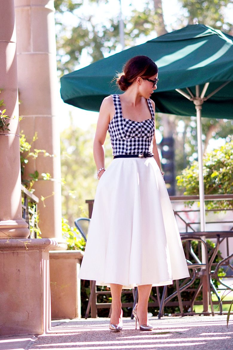 Gingham Top and Full Midi Skirt | Hallie Daily | My Kind of Style ...