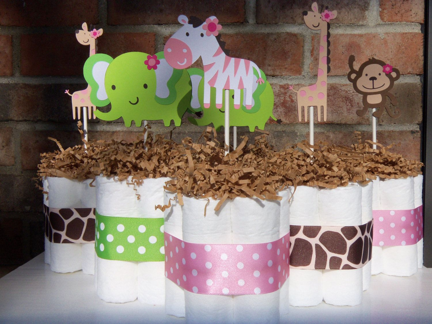 Diaper Cakes Quot Jungle Jill Quot Themed Set Of 6 Small Cakes