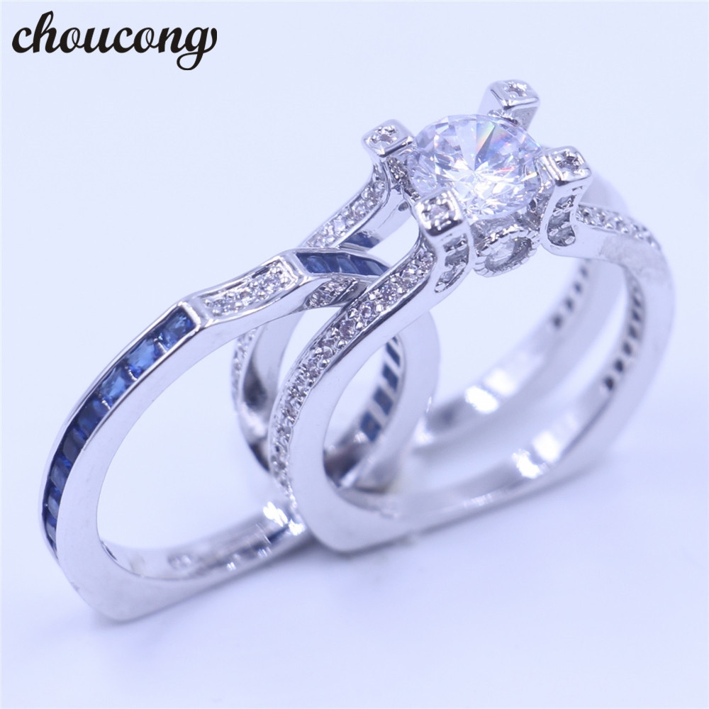 13.41$  Watch more here - choucong Luxury Women Jewelry 5A Blue zircon Cz ring 925 Sterling Silver Women birthstone Engagement Wedding Band Ring Sz 5-11    #buyininternet