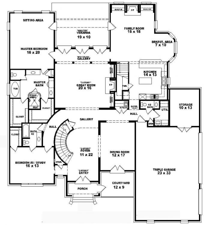Four Bedroom Floor Plan Triple Car Garage 5 Bedroom House Plans Two Storey House Plans Bedroom House Plans