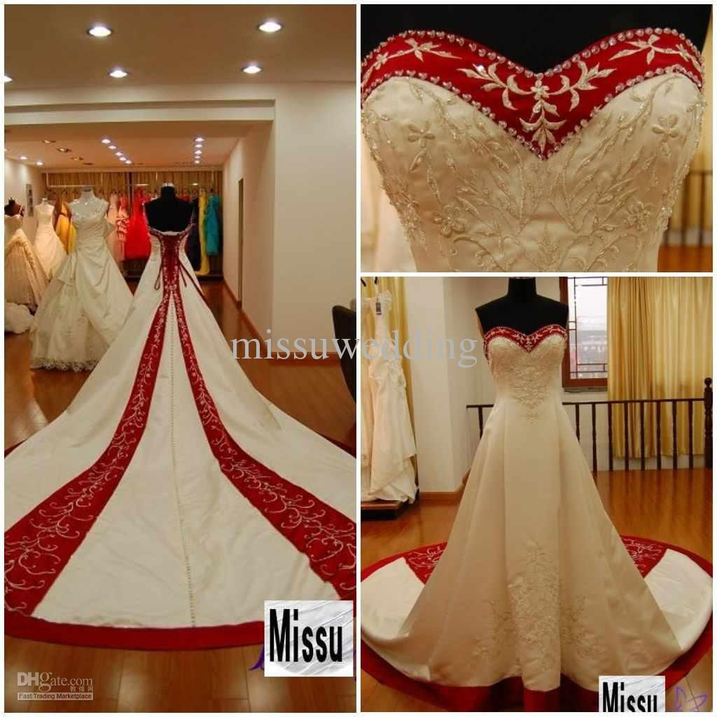Cheap red and white wedding dresses  Strapless Cathedral train Red and white embroidered wedding dress