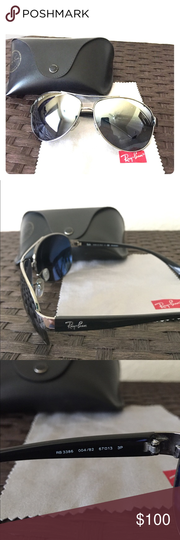 Polarized Ray-Ban Aviators Fantastic pair of Polarized Ray-Ban Aviators!! These aviators have a slight curve in them to hug your face. These have always been kept in their original case. The sunglasses come with the original case and cleaning cloth. Ray-Ban Accessories Sunglasses