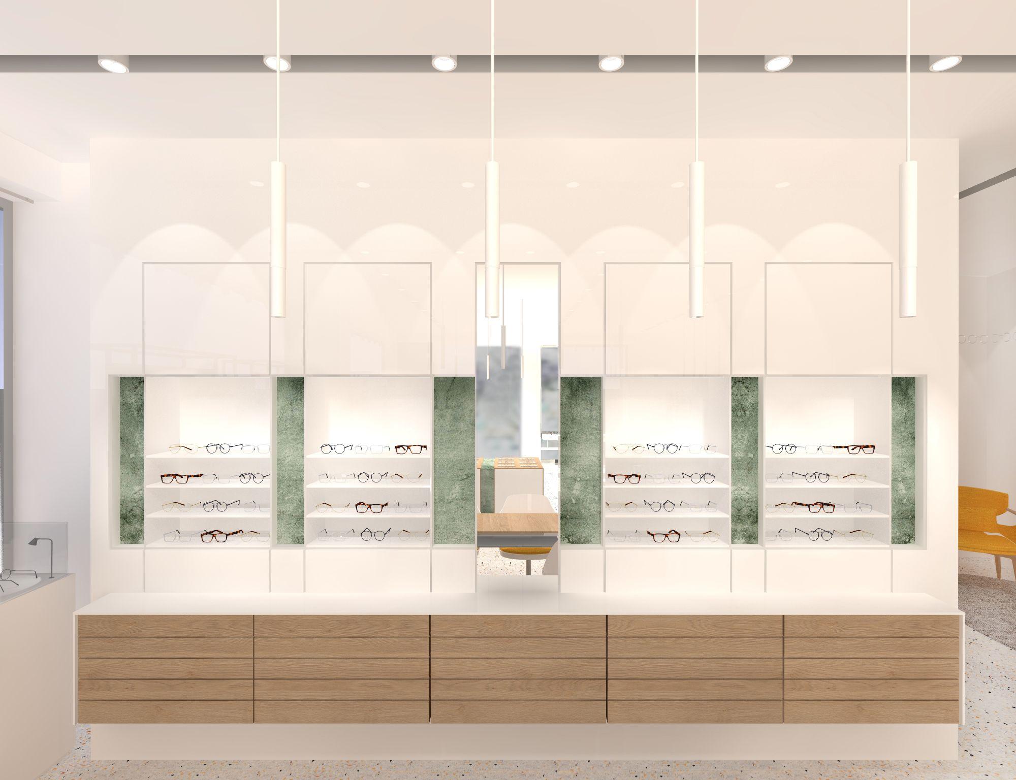 Pin By Crespi Interiorisme On Opticas De Diseno Optical Shop Design Interior