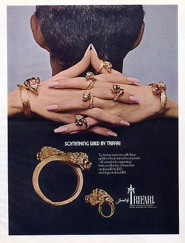 Photo of Trifari 1960 Animal-head & Bracelet Jewels Vintage advert Jewelry | Hprints.com