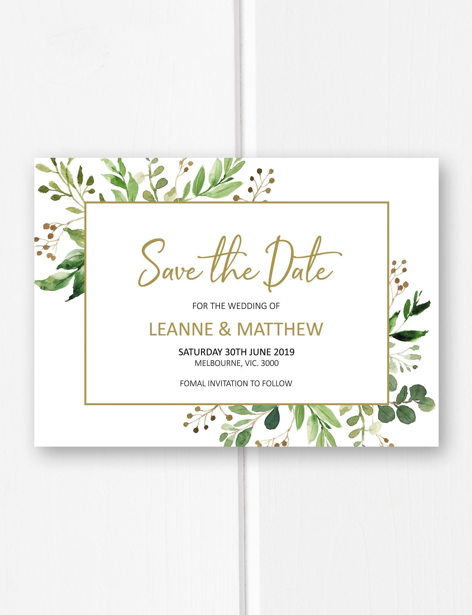 Wedding save the date cards printable garden wedding ideas gold save the date invitations greenery invites from pink summer designs on etsy weddingideas