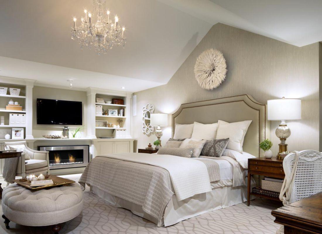 elegant master bedroom design ideas with clock and ...