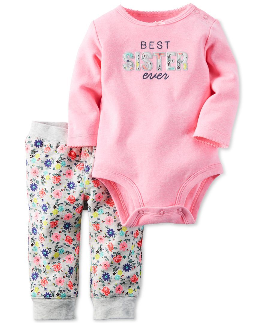 2993526325b Carter s Baby Girls  2-Pc. Long-Sleeve Best Sister Ever Bodysuit    Floral-Print Pants Set - Baby Girl (0-24 months) - Kids   Baby - Macy s