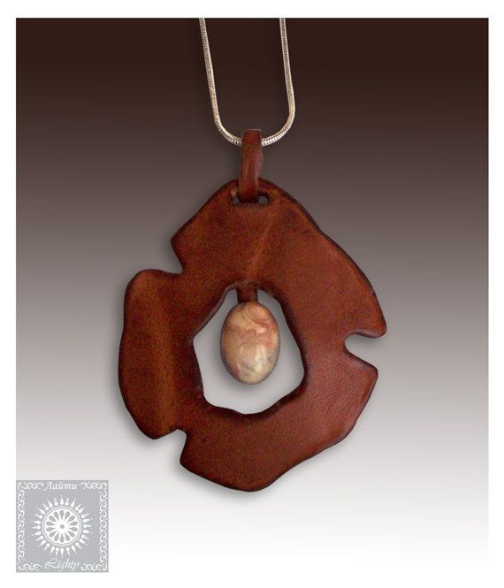 Photo of Items similar to Leather pendant jewelry, Designer leather jewelry, Pendant with Agate stone, Statement Leather pendant. on Etsy