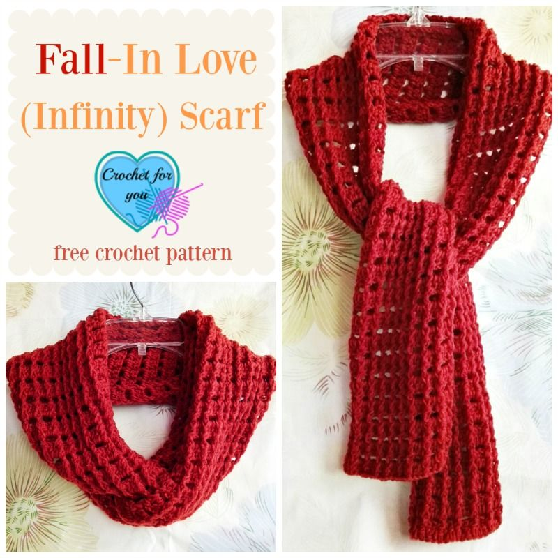 Fall-In Love (Infinity) Scarf - free crochet pattern | Häkeln