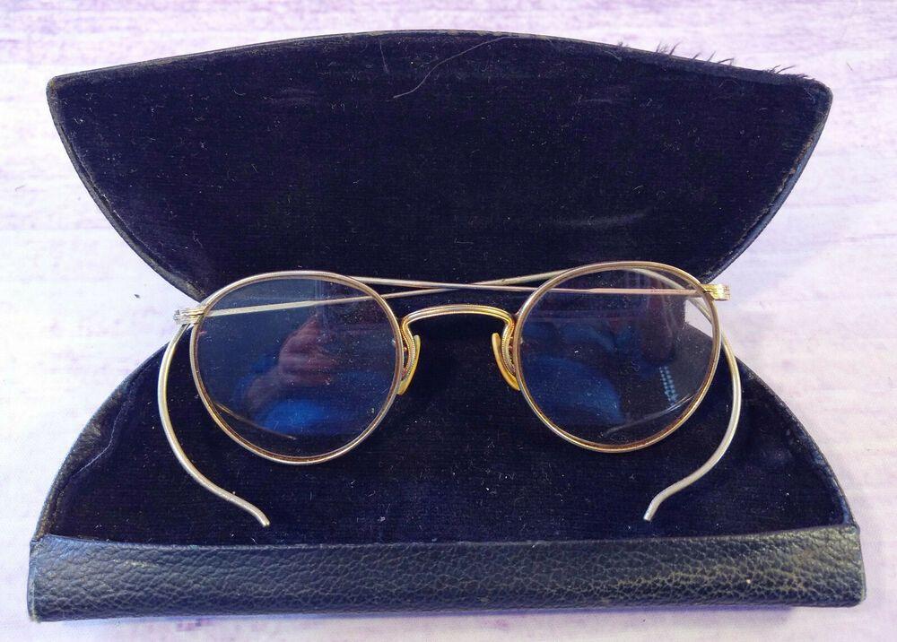 65e65d07c735 Vintage Eye Glasses AO 1/10 12KGF Bifocals Gold Round Wire Rims Black Case #