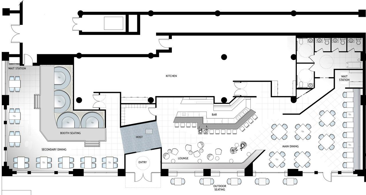 Architect restaurant floor plans google search 2015 for Blueprints of restaurant kitchen designs