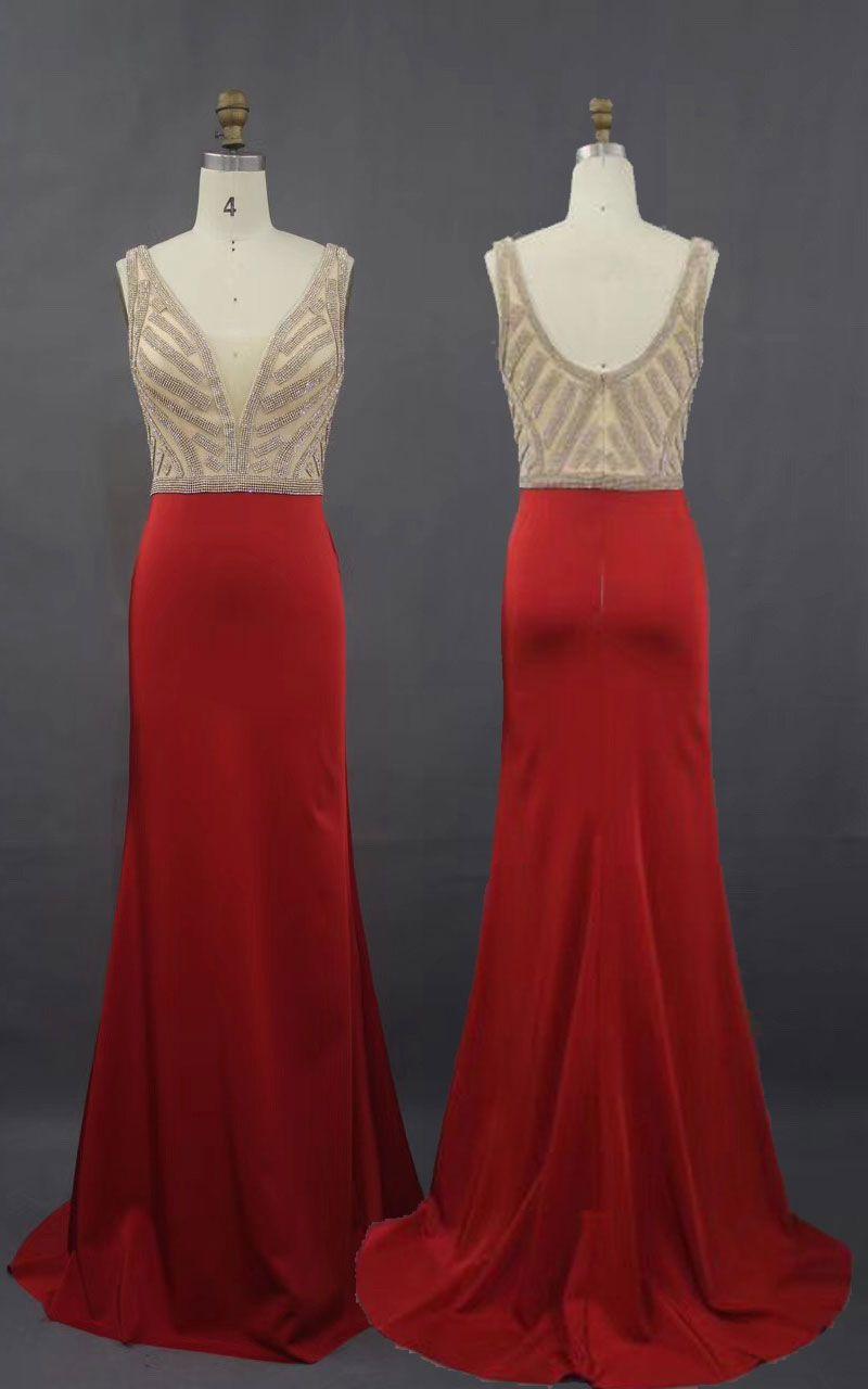 V neck red prom dress long gown for women prom dresses pinterest