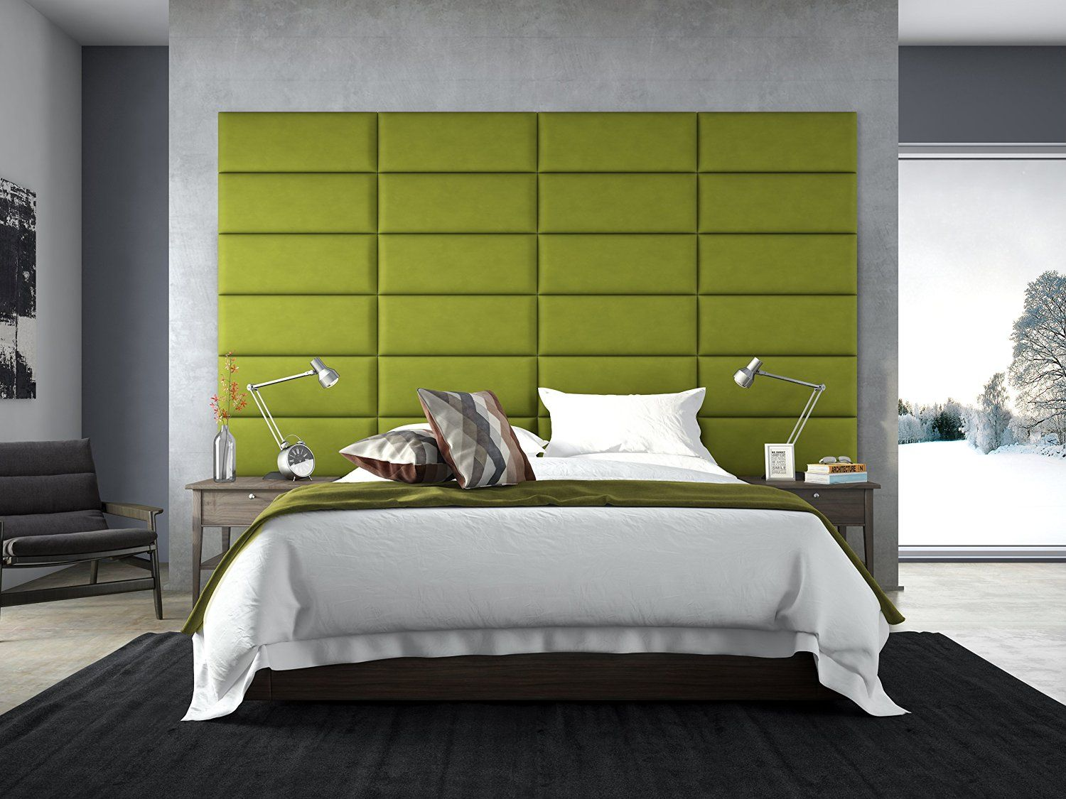 Rectangle Shaped Packs Of 4 Suede Green Mustard Headboard