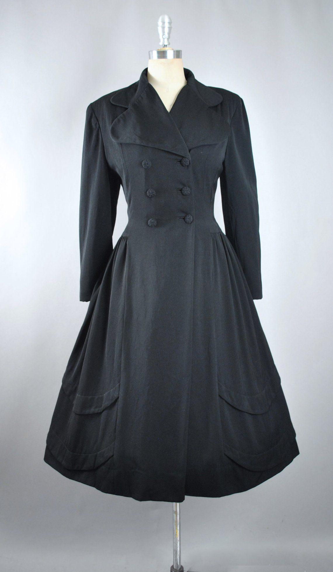 Vintage 40s 50s Lilli Ann Princess Coat 1940s Black Etsy Dress Coat Outfit Fashion Dresses [ 1955 x 1140 Pixel ]