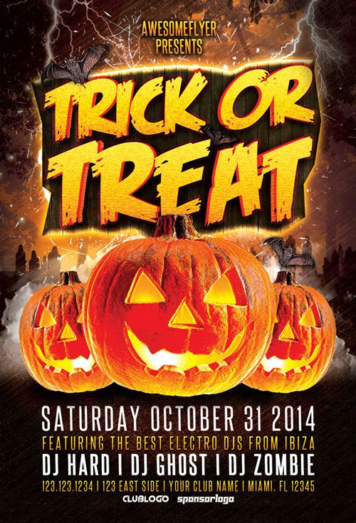 Trick Or Treat Halloween Party Flyer Template - http\/\/ffflyer - zombie flyer template