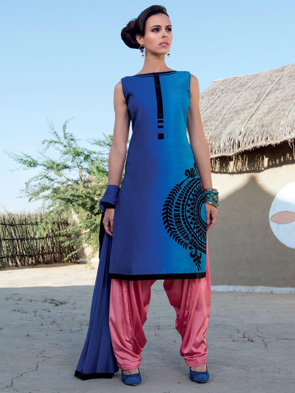 Blue Cotton Silk Punjabi Suit   Buy Punjabi Patiala salwar kameez ...