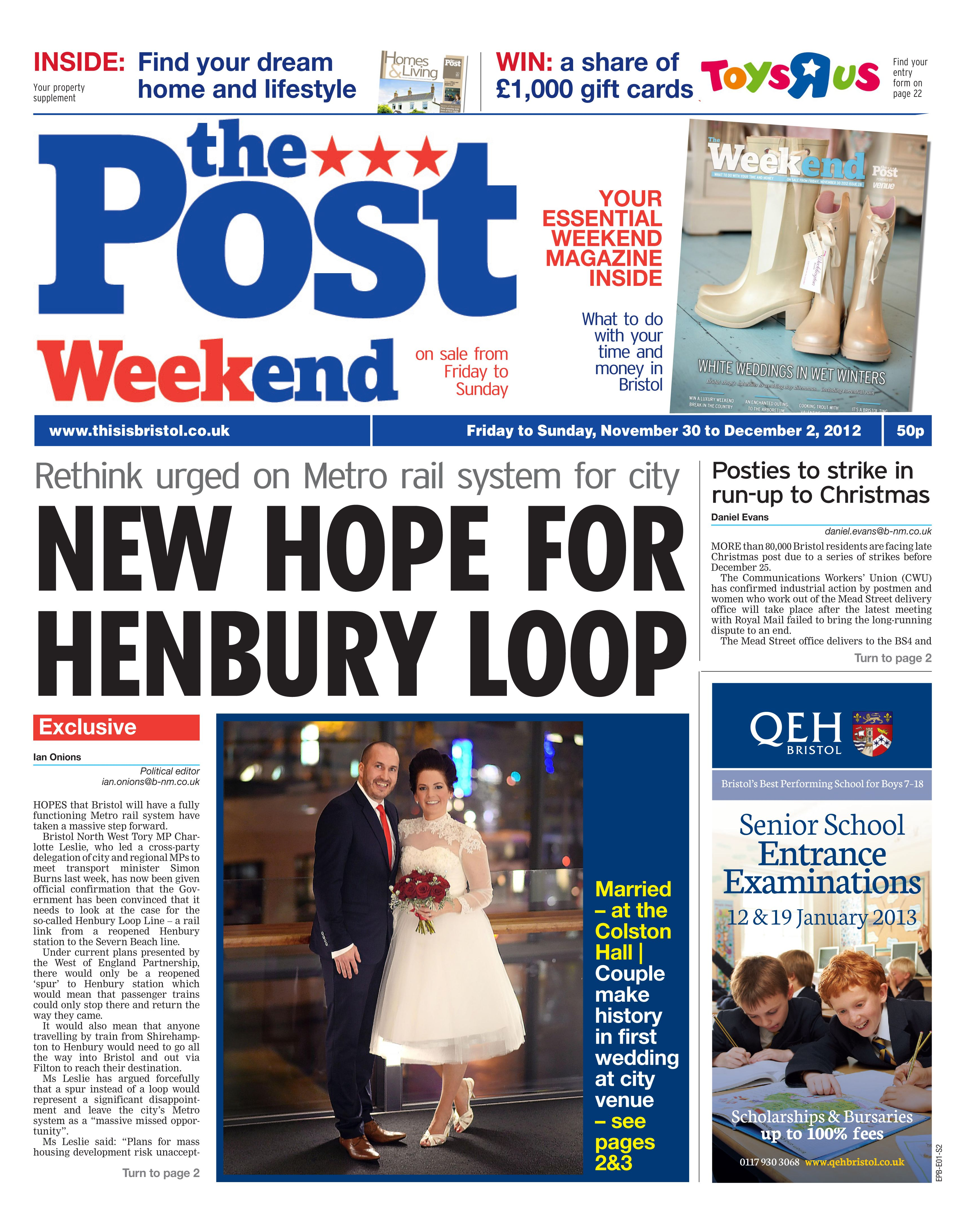 Colston Hall wedding on the front page of the Bristol Evening Post