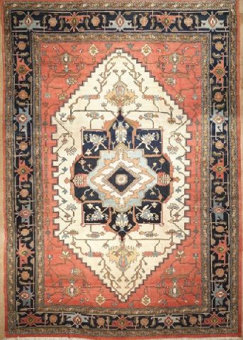 NEW CONTEMPORARY PERSIAN HERIZ AREA RUG 39093 - AREA RUG This beautiful Handmade Knotted Rectangular rug is approximately 13 x 19 New Contemporary area rug from our large collection of handmade area rugs with Persian Heriz style from Iran/Persia with Wool
