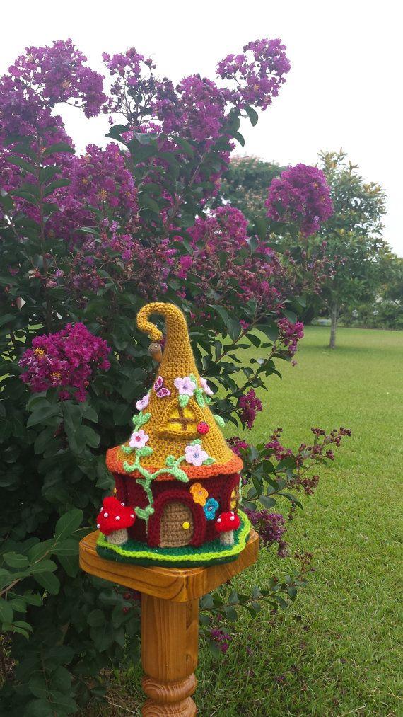 Handmade Crochet Fantasy Fairy Gnome Garden Decor House
