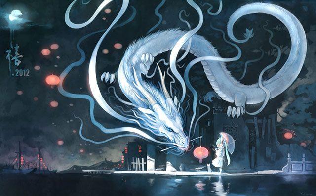 初音ミク ファンタジーなデザインの高画質イラスト ボカロ壁紙 ドラゴンアート 初音ミク 龍 イラスト
