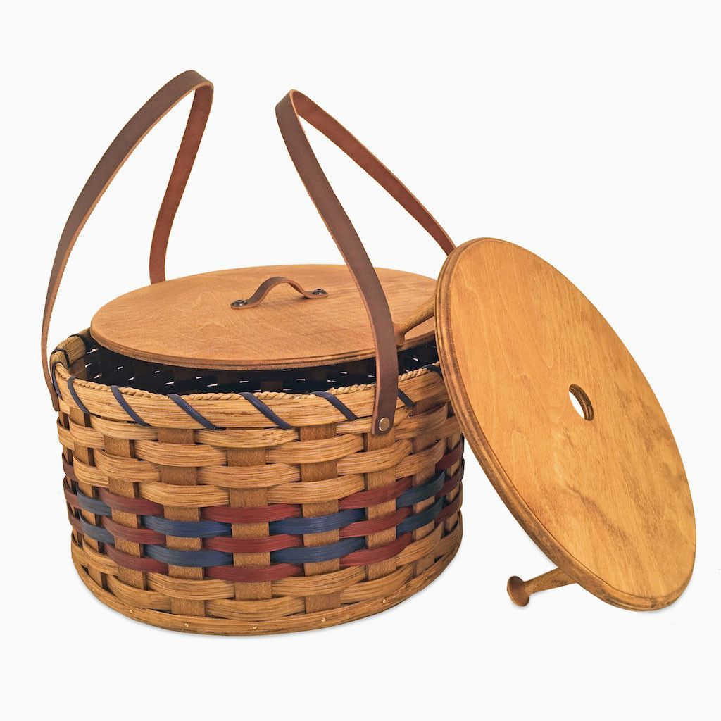 Picnic Basket Pie : Amish made double round two pie carrier basket with lid