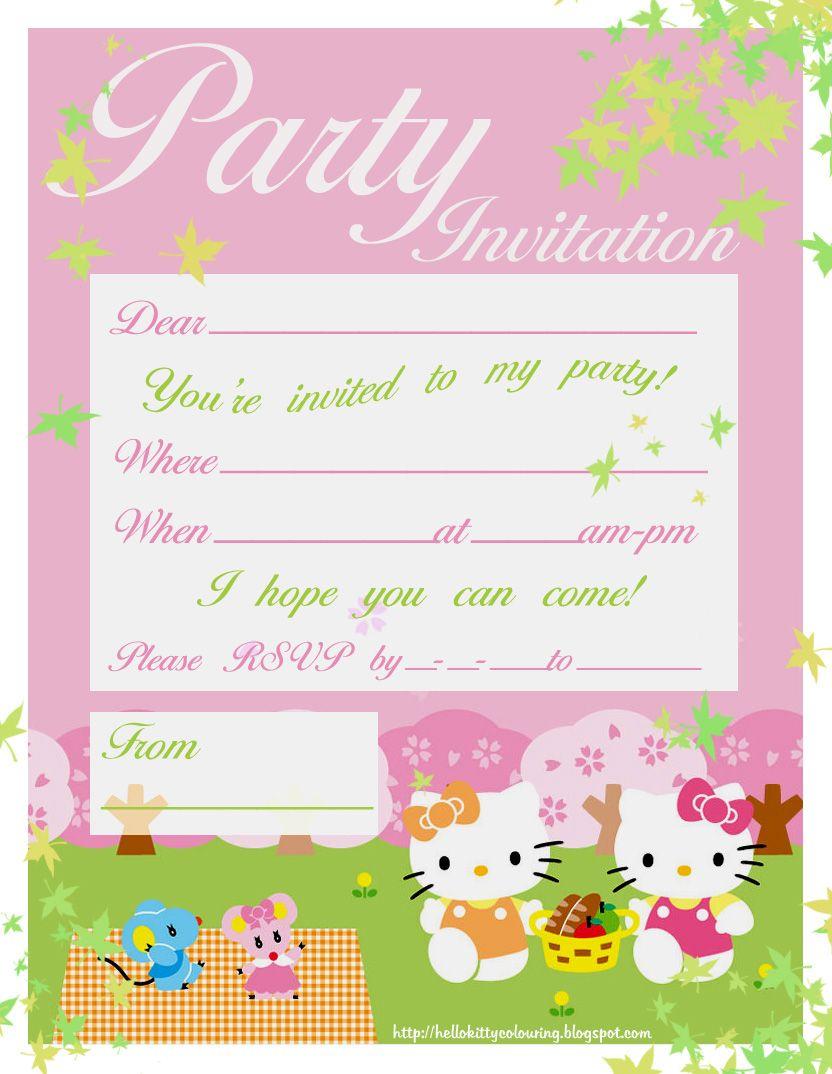 Free Hello Kitty Printable Invitation Hello Kitty Coloring Pages Hello Kitty Birthday Invitations Hello Kitty Invitations Hello Kitty Party