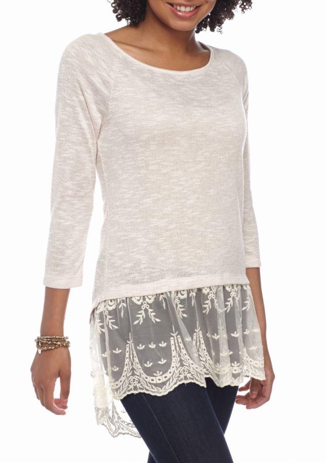 79e7d1e621a Trixxi Lace Hem Top - Belk.com | Tops | Tops, Tunic tops, Lace