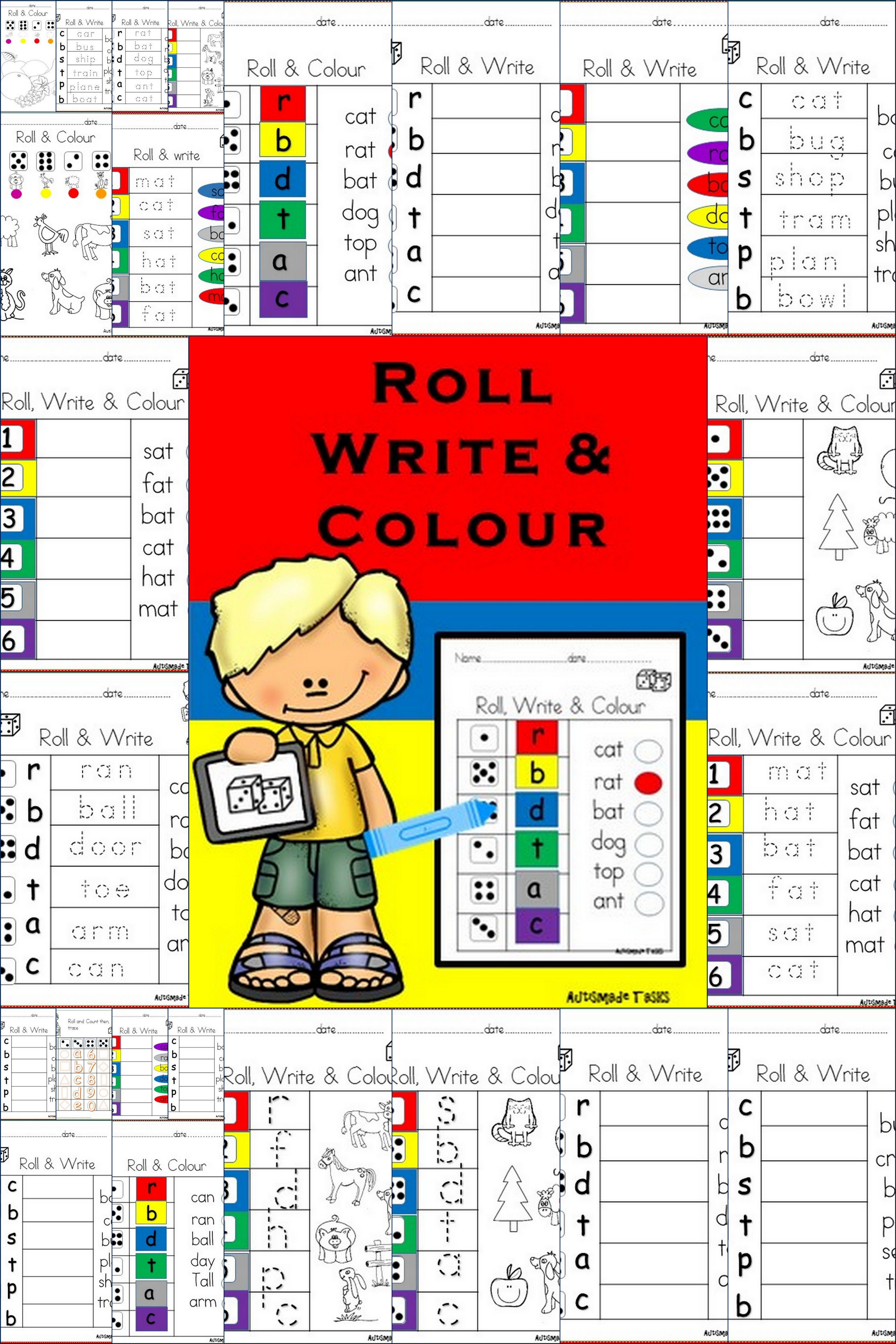 Roll Write And Colour Dice Game Work Sheets