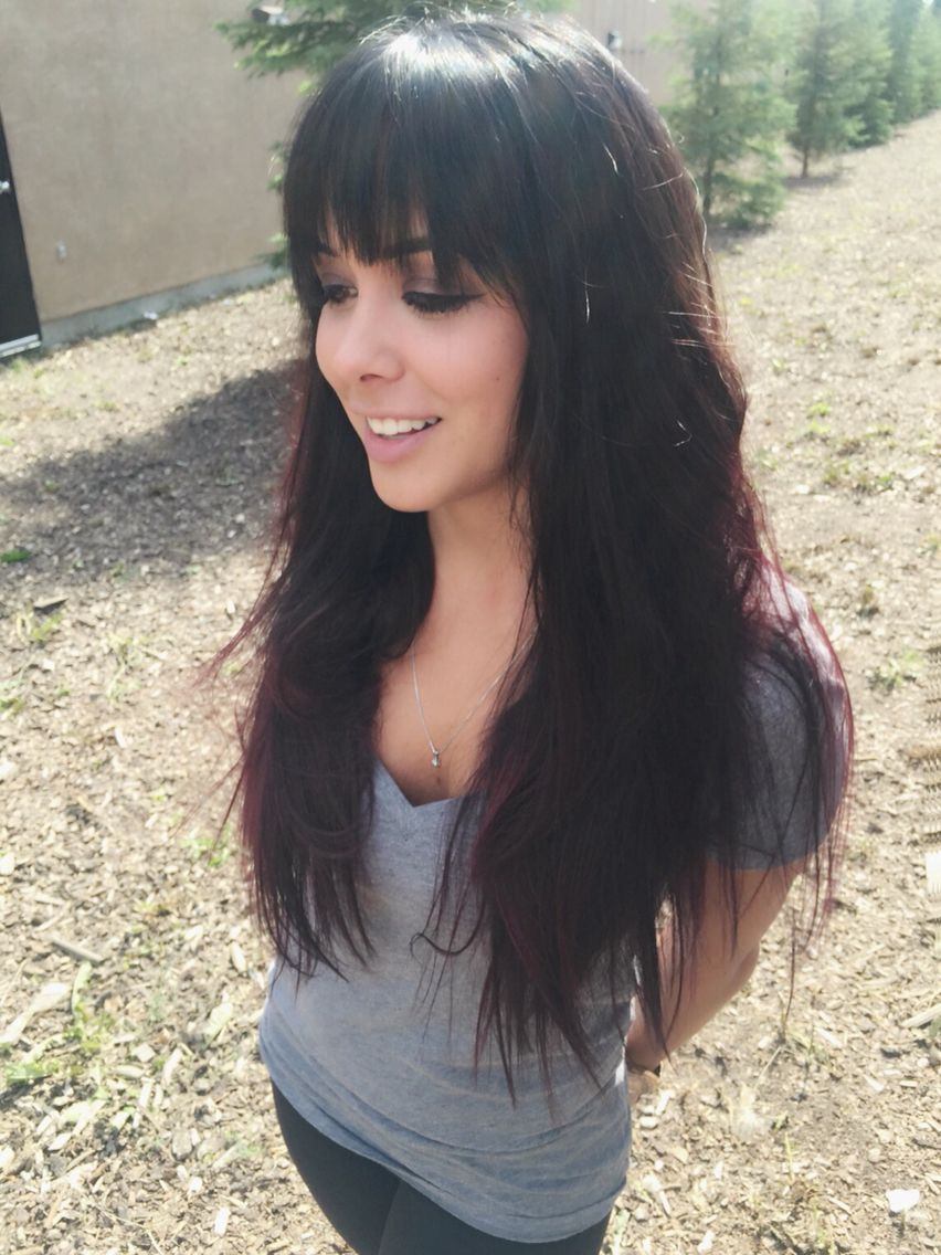 long hairstyles. long hair with heavy fringe. long hair with bangs