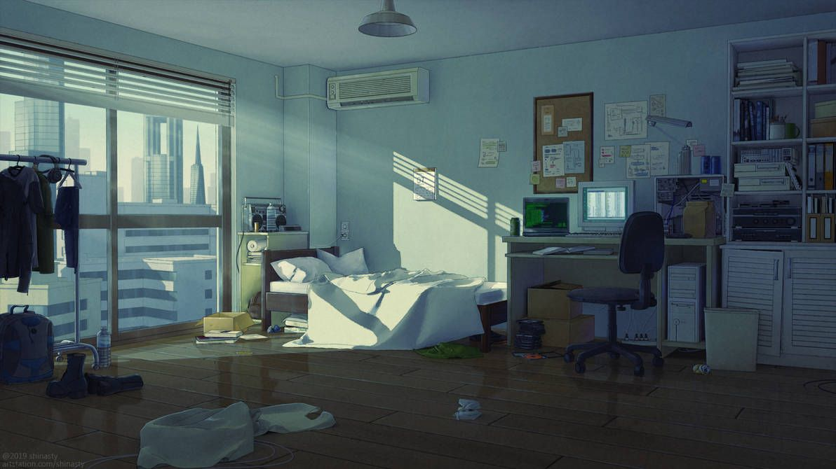 Anime Bedroom Backround By Shinasty Bedroom Artwork Anime