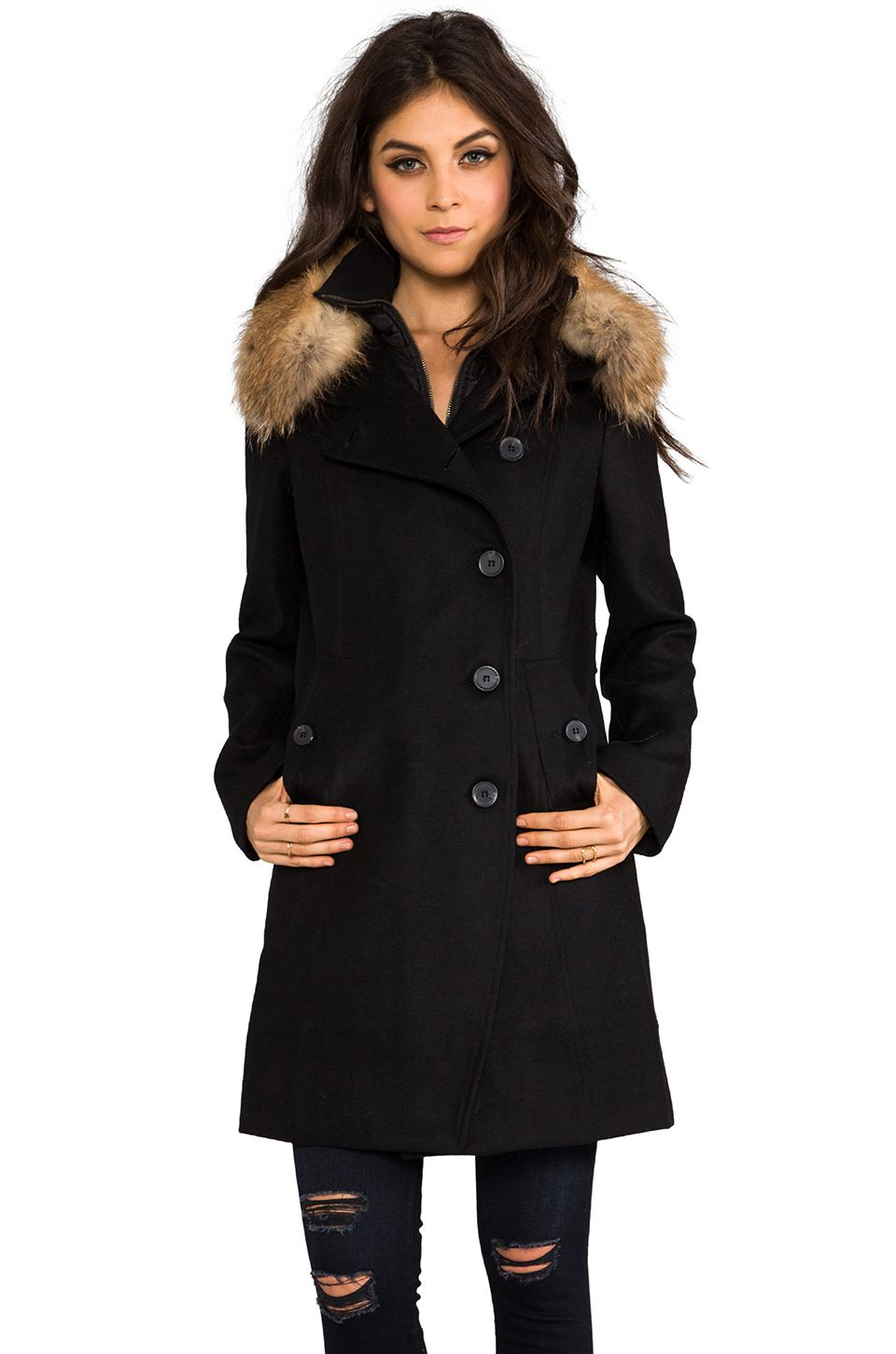 841c55b1a50 Soia   Kyo Reiko Removable Fur Trim Wool Coat in Black from REVOLVEclothing