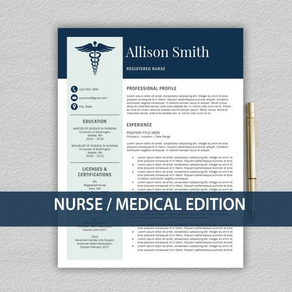 Nurse Resume Template For Word  Medical Resume  Nurse Cv
