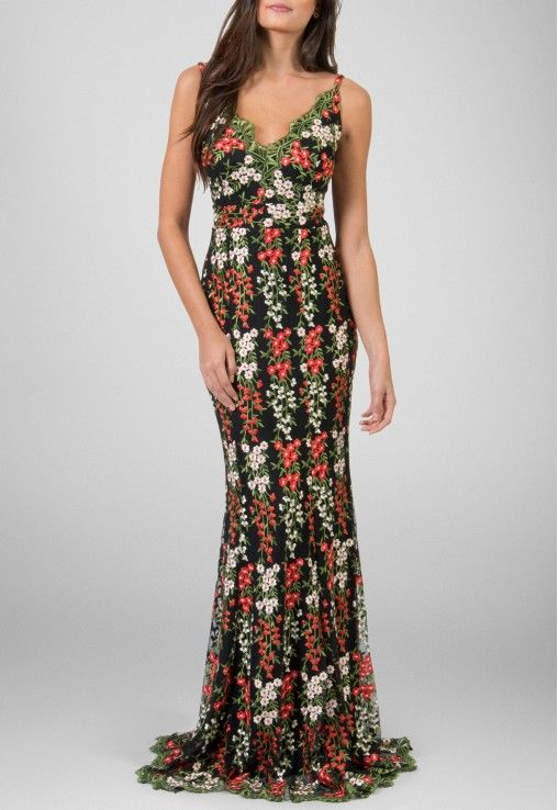 6ca9fc3ef PowerLook Aluguel de Vestidos Online- POWERLOOK Vestido Bruna longo todo  bordado com florzinhas no tule Powerlook - estampado #bruna #vestidolongo …