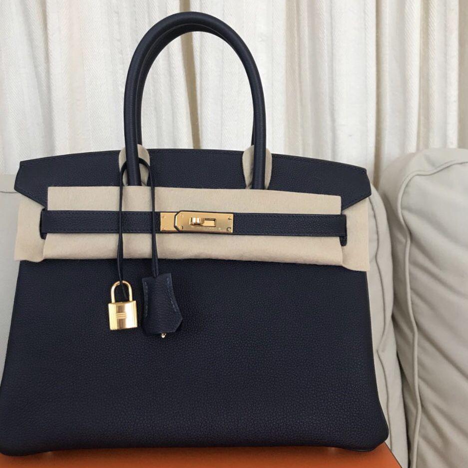 9b76e03f4f7b Hermès Birkin 30 Bleu Nuit Togo Gold Hardware GHW C Stamp 2018  birkin30   thefrenchhunter