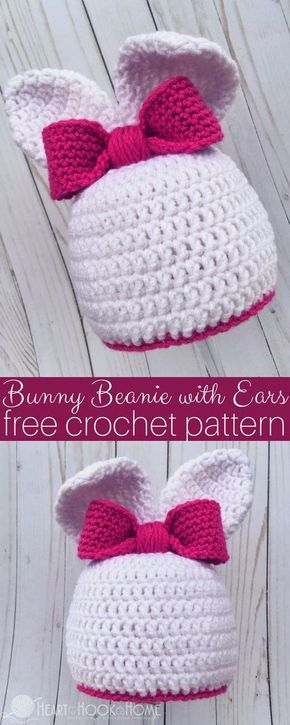 Bunny Beanie with Ears Free Crochet Pattern for Easter | Gorros ...