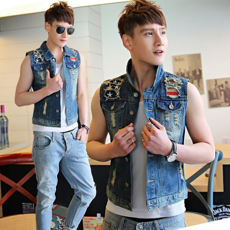 ropa mangas de sin hombre para vintage Mainland diseño masculinas corto 2014 China abrigo hombres primavera chaleco chaqueta vaquera vwxPxIq8t