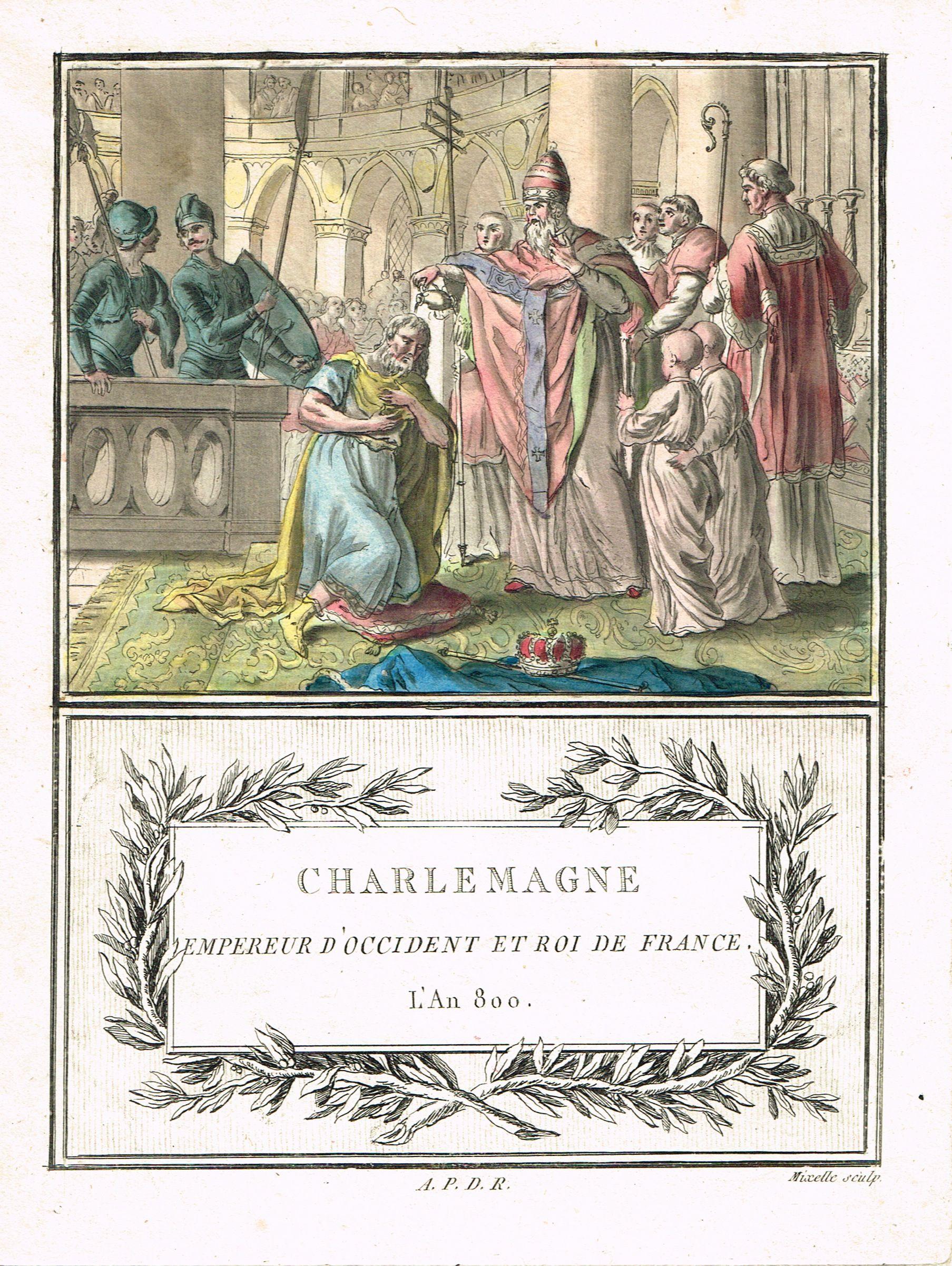 Charlemagne - Empereur d'Occident et Roi de France - l'An 800 - aquatinte par Mixelle - MAS Estampes Anciennes - Antique Prints since 1898