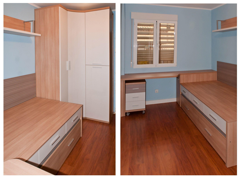 Dormitorio juvenil compuesto por compacto de cajones for Armario rinconero ikea