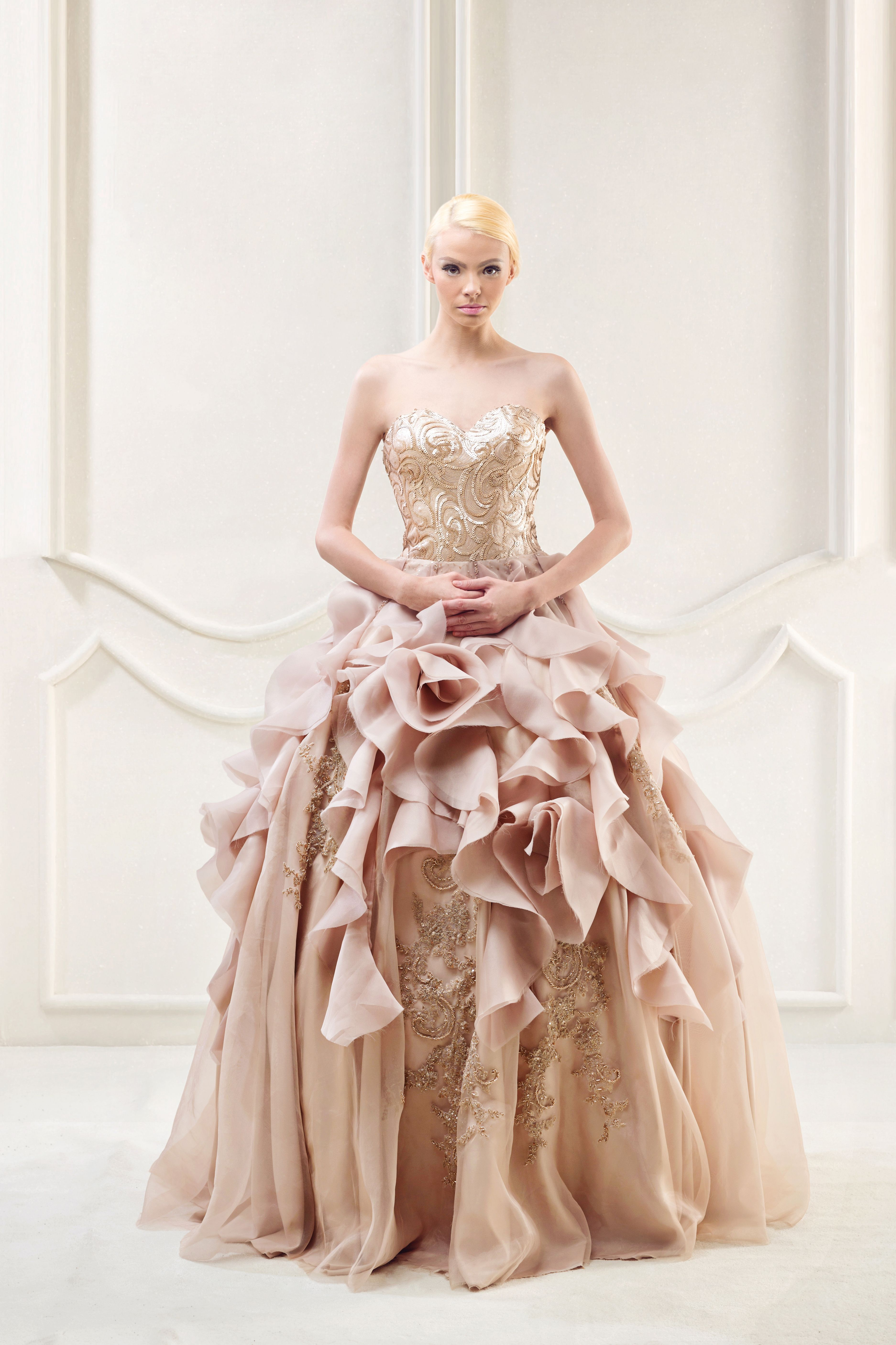 Feels like a princess with this light pastel modern ball gown ...