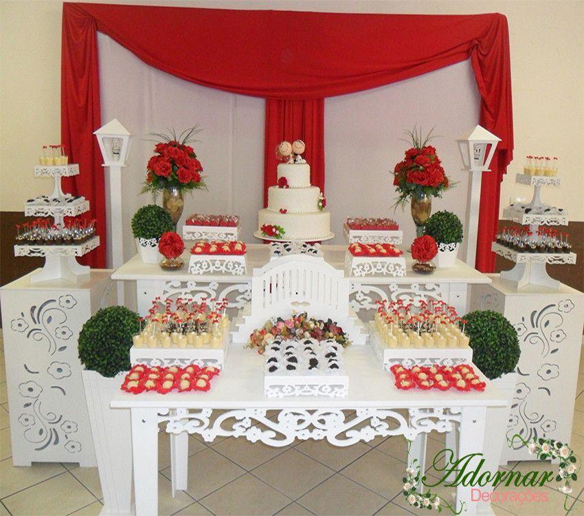 Decoraç u00e3o de Casamento Vermelho Projetos para experimentar Pinterest Decorações de  -> Decoração De Casamento Simples Vermelho E Branco